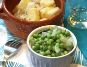 Receta de guisantes a las hierbas con salteado de patatas