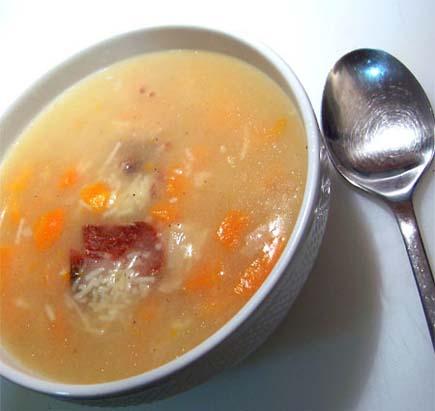Receta de sopa de fideos con jamon