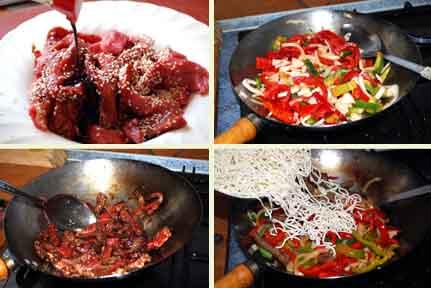 Receta de wok de ternera con pimientos, elaboración.
