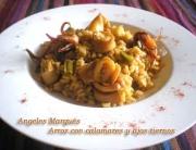Receta de arroz con calamares y ajos tiernos