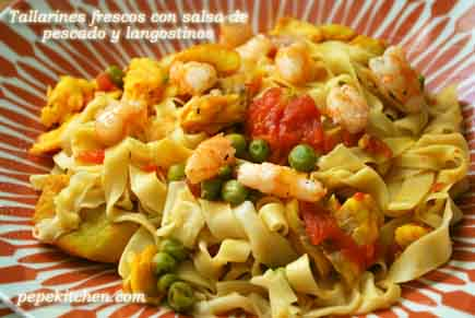 receta de tallarines frescos con salsa de pescado