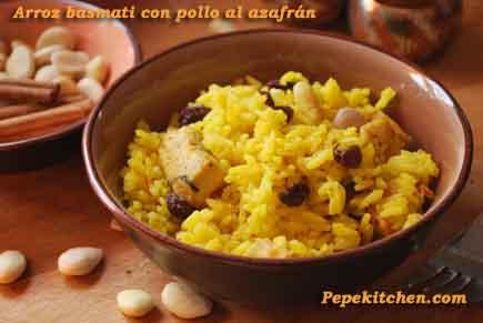 Receta de arroz basmati con pollo al azafrán