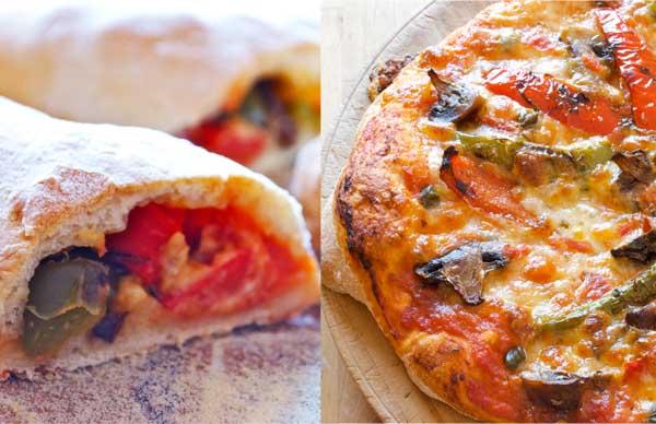 pizza y calzoncini vegetarianos